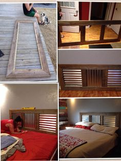 King size headboard from recycled wood and corrugated tin