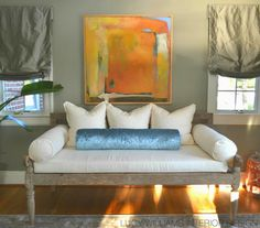 LUCY WILLIAMS INTERIOR DESIGN BLOG I like the old worn daybed with the new sophisticated pillows.