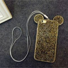 Genuine Fashion Mickey Bling Diamond Rabbit Shape Protective Phone Case Luxury TPU Colored Back Cover Shell for Iphone 6S 6sPlus