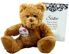 Best Sister Ever Gift  Perfect Gifts for In Law Sorority Sis from Sister or Brother for Birthday Christmas Thank You Christian  Teddy Bear Glass Plaque and Button * Visit the image link more details.