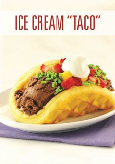 This taco wraps a tasty waffle around chocolate ice cream, then tops it all with a fresh salsa made from strawberries and mango.