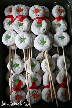 This would be cute for a school christmas party! snowman party, birthday snacks, christmas parties, stick, party treats, holiday treats, birthday preschool snacks, birthday food for kids, christmas breakfast
