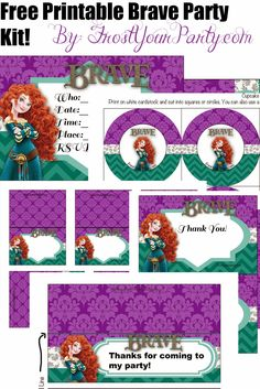 Disney, Brave, princess, party, party kit, printable, free, merida, invitations, thank you cards, cupcake toppers, straw tags, stickers, cups, favor tags, bag tags, tented cards, labels, birthday, event