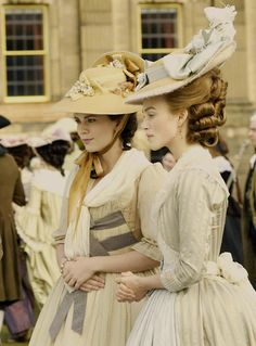 Hayley Atwell as Lady Elizabeth Bess Foster and Keira Knightley as Georgiana, Duchess of Devonshire in The Duchess (2008).