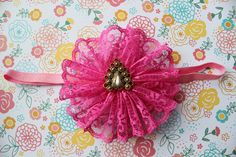 Fuchsia Lace Flower on Elastic Band with by EverlastingEsly, $8.95