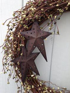 "18"" Rustic wreath- Primitive Wreath- Country Wreath,-Green Wreath-, Heart Wreath- Shabby Chic- Hand Crafted Wreath. $55.00, via Etsy."