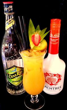 Brasil Sunshine (2cl Canario Cachaca, 2cl Peachtree, 1cl Lime Juice, 15cl Pineapple Juice)