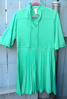 1960s 60s Teal Pleated Dress by LetThemEatCakeLA on Etsy, $45.00