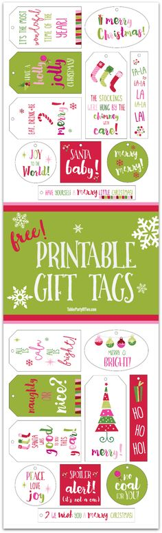 FREE Christmas printable gift tags for YOU! Simple print them on white card stock. Cut them out, punch a hole and tie them with baker's twine. So colorful and CUTE! TablerPartyofTwo.com
