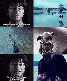 Horrible things happen when Dobby tries to save Harry's life :/ cried the hardest at Dobby's death out of all the deaths :/