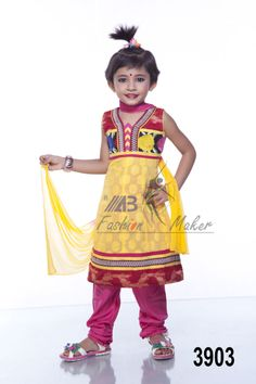 Style 3903 Cotton & katan fabric multi color printed and embroidered kids wear.