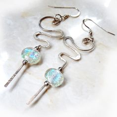 Hammered Sterling & Dichroic Glass Long Earrings