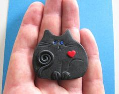 Polymer Clay  Black Cat with red heart Brooch or Magnet