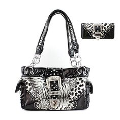 Texas West Leopard Buckle Conceale Carry Womens Handbag with Matching Wallet in 3 Colors Black *** Read more reviews of the product by visiting the link on the image.