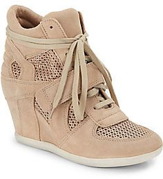 0e530968b69 Bowie Mesh   Suede Wedge Sneakers Nude Wedges
