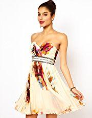 Little Mistress Printed Bandeau Prom Dress