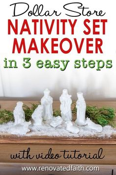 """You won't believe the before photo!  This easy step-by-step tutorial and video shows you how to give your nativity scene display a makeover with paint and a little clear glitter.  This vintage nativity scene makeover can also work on Christmas village figurines, no matter the colors.  Included are display ideas to give it a """"wood and white"""" look. Thrifted Nativity Set Makeover.  Dollar Store Nativity Scene Makeover. Elegant Christmas Decor, Simple Christmas, Christmas Tree Decorations, Christmas Diy, Christmas Wreaths, Merry Christmas, White Nativity Set, Spray Painting Glass, Winter Wonderland Decorations"""