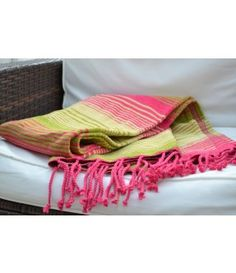 Pink Lime Stripe Chenille Throw 160cm x 130cm