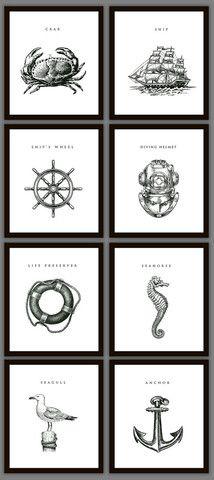 Nautical Home Decoration Art Prints - Set of 8