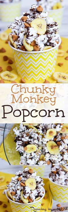 Chunky Monkey Popcorn recipe! Perfect healthy, homemade addition to popcorn.  Great for movie nights.  Topped with dark chocolate, banana chips and peanut butter chips. Savory, sweet and awesome!  So easy anyone can make it. / Running in a Skirt