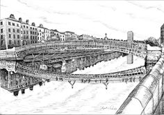Items similar to The Ha Penney Liffey Bridge Dublin on Etsy Irish Art, Irish Eyes, Line Drawing, Animal Drawings, Art For Sale, Dublin, How To Draw Hands, Louvre, Sketches