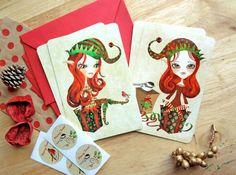 Christmas Elves - Set of 4 Postcards w/ Red Envelopes and Seals #christmaspostcards  #christmasgreetings  #Postcrossing  #christmasstationery  #postcardgiftset