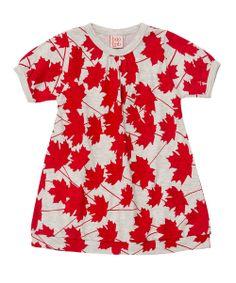 Grey  Red Maple #Organic Cotton Leaf Dress by baobab £12.99
