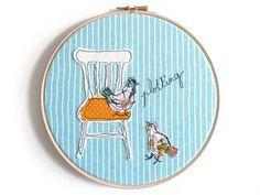 Embroidery Hoop Art 'Plotting chickens' by ThreeRedApples on Etsy, £24.00