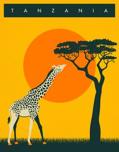 TANZANIA Travel Poster Art Print by Jazzberry Blue   Society6