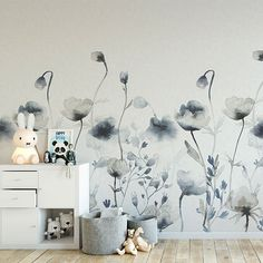 Wallpaper Morängen Sandberg with large flowers painted in watercolor. Baby Nursery Decor, Baby Decor, Nursery Room, Kids Bookcase, Nursery Inspiration, Dream Decor, Decoration, Lovers Art, Wall Murals