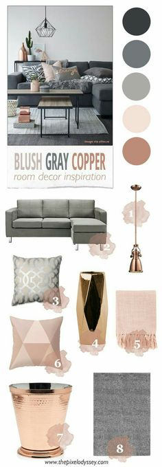 Blush, grey, and copper living room color scheme