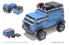 """Would love to see this as the next axial scx10 body. Found this online tonight, looks pretty slick. I may need to pick up his model.  For those of you who have purchased my one-of-a-kind Jeep Mighty FC model, you'll be happy to know that I released the """"Expedition Kit"""" addon model for it. Download it for free here! Related posts: Free model released: Rooftop Expedition Tent Jeep Mighty FC paper model released The Jeep Mighty …"""