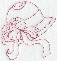 Victorian Hat 5 (Redwork) design (C2699) from www.Emblibrary.com