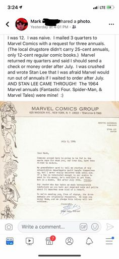 Touching Stan Lee Story (Found on r/mildlyinteresting) : MadeMeSmile Amazing Person, Amazing Man, Marvel Memes, Marvel Avengers, Marvel Dc Comics, Dc Universe, Marvel Cinematic Universe, Spiderman, Batman