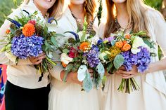 colorful bouquets - this whole wedding is fantastic!