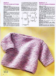 Knitting baby sweaters: cute models for your little sweethe Baby Cardigan Knitting Pattern, Knitted Baby Cardigan, Crochet Poncho, Baby Knitting Patterns, Tricot Baby, Knitting For Kids, Free Knitting, Baby Sweaters, Garter Stitch