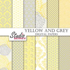 Yellow Damask Digital Papers Grey Backgrounds by StudioDesset, $3.60