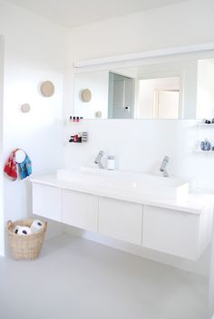 Ikea cabinets/sinks for J's bathrm. muuto dots | FargeBarn