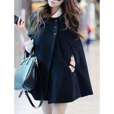 Collarless Pocket Plain Woolen Cape Sleeve Coat (€20) ❤ liked on Polyvore featuring outerwear, coats, cape coats, woolen coat, blue cape coat, woolen cape and wool cape