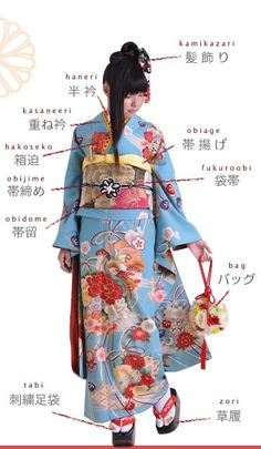 成人式の振袖 This is the kimono 20-year-old girls wear for Coming of Age ceremony. *