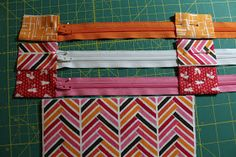 "Click here for tutorial in pdf format Supplies Needed 3 zippers, 9"" or longer fabric for pouch body, accent pieces, and linings (fat..."