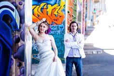 Therita and quinton wedding  graffiti background high energy pics