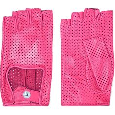 Causse Gantier Perforated leather fingerless gloves ($190) ❤ liked on Polyvore featuring accessories, gloves, pink, fingerless gloves, real leather gloves, leather gloves, fingerless leather gloves and pink gloves