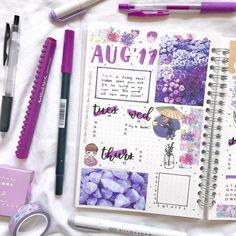 Purple themed bullet journal layout