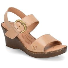 Born Claudia Leather Sandals (110 CAD) ❤ liked on Polyvore featuring shoes, sandals, natural, open toe shoes, wedges shoes, open toe wedge shoes, slingback shoes and born sandals