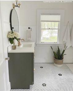 #CheapWoodFlooring Hexagon Tile Bathroom Floor, Painted Bathroom Floors, Bathroom Stencil, Painting Tile Floors, Hexagon Tiles, Bath Tiles, Bathroom Flooring, Painted Floors, Kitchen Flooring