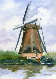 Choose your favorite kinderdijk paintings from millions of available designs. All kinderdijk paintings ship within 48 hours and include a money-back guarantee. Netherlands Windmills, Holland Windmills, Old Windmills, Windmill Drawing, Windmill Art, Watercolor Pictures, Easy Watercolor, Watercolor Painting Techniques, Cottage Art