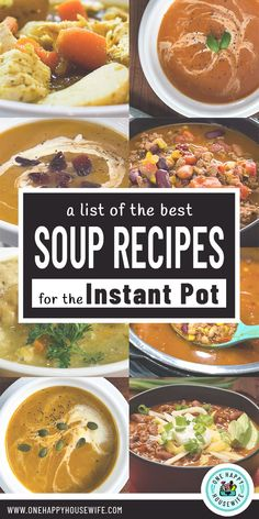 Escape winter chills with these Instant Pot soup recipes including chicken soup tomato soup taco soup chili and so much more. Best Soup Recipes, Chili Recipes, Yummy Recipes, Vegetarian Recipes, Recipies, Dinner Recipes, Favorite Recipes, Instant Pot Pressure Cooker, Pressure Cooker Recipes