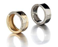 Saarikorpi Design, Puzzle II rings, 18K white and yellow gold, W/VS diamonds