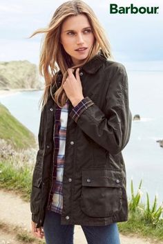 Green Barbour® Navy Beadnell Wax Jacket